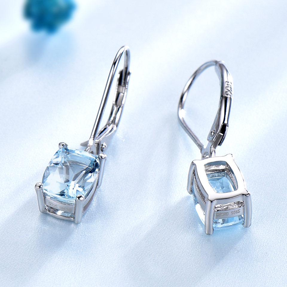 UMCHO prirodni nebo plavo Topaz Drop naušnice Pravi 100% srebrni 925 - Fine nakit - Foto 3