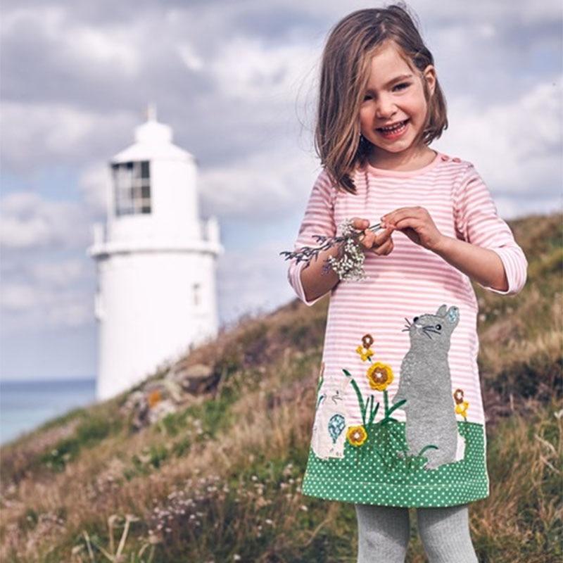 Baby Girls Dress Striped Princess Dress Children Clothes 2017 Brand Autumn Animal Applique Kids Dresses for Girls Tunic Jersey girls set with applique animal dress