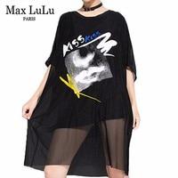 Max LuLu Luxury Summer Fashion Korean Style Ladies Sexy Tops Women Black Lace Loose Mesh Tee Shirts Casual Kawaii Long Tshirts