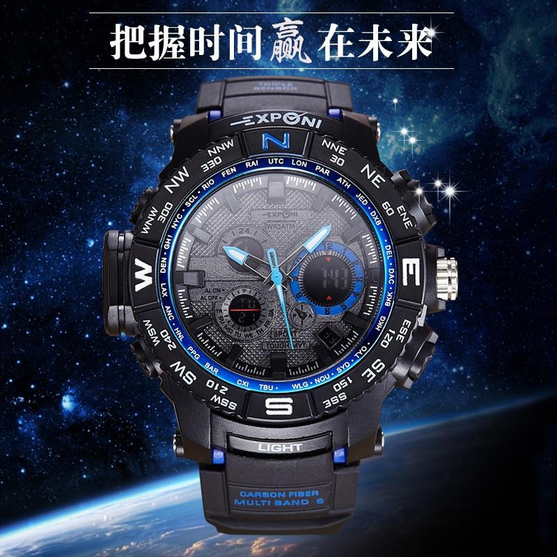 men watch multifunction electronic alarm clock luminous waterproof sports watch big dial watch