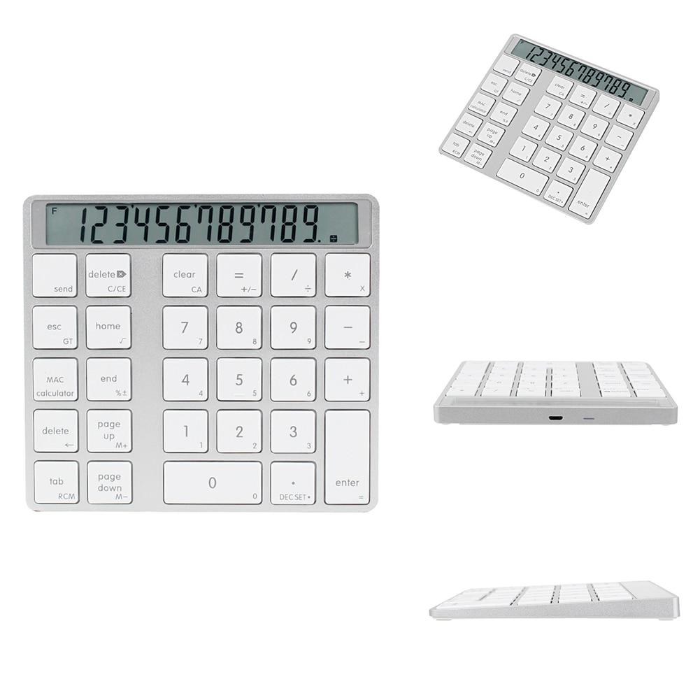 LCD Display Ultra Thin For Laptop Wireless Bluetooth Mini Calculator Digital Keyboard 28keys Numeric Keypad Magic 2 In 1