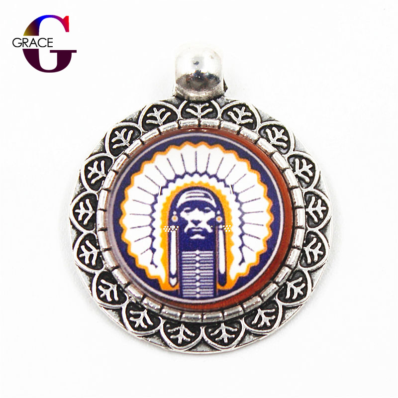 NCAA Illinois Fighting Illini Team Sports Charms Hanging Dangle Floating Charms Fit Men Necklace pendant DIY Jewelry Accessory