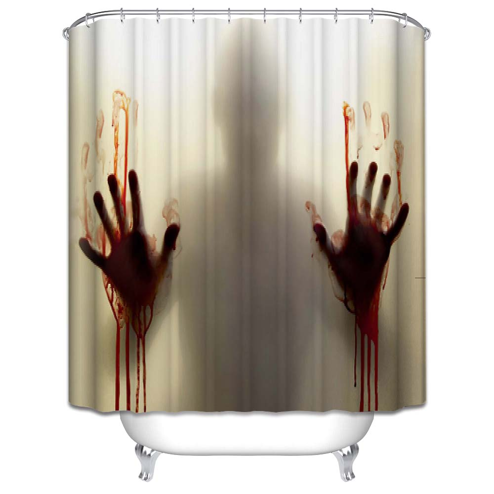Halloween shower curtain - New Horrible Hands Waterproof Shower Curtain Haloween Bathroom Shower Curtain Halloween Decor Unique Bath Curtain With 12 Hooks