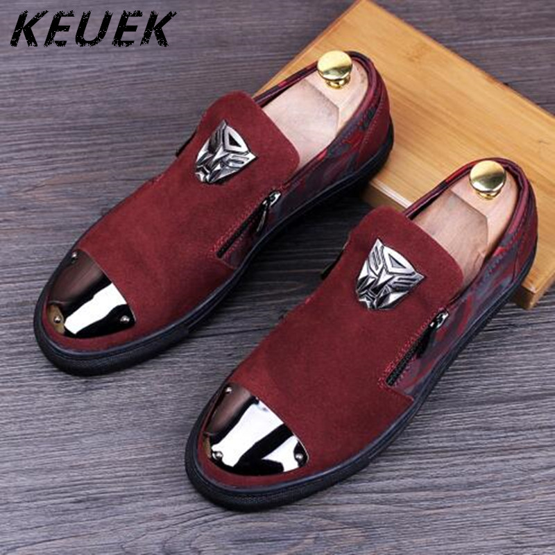 Genuine leather Male Pointed toe Slip On Flats Metal Fashion Loafers Men Casual shoes sapato masculino Youth trend shoes 022 luxury fashion men crystal flats metal pointed toe huarache slip on wedding shoes man 36 46 chaussure homme sapato masculino