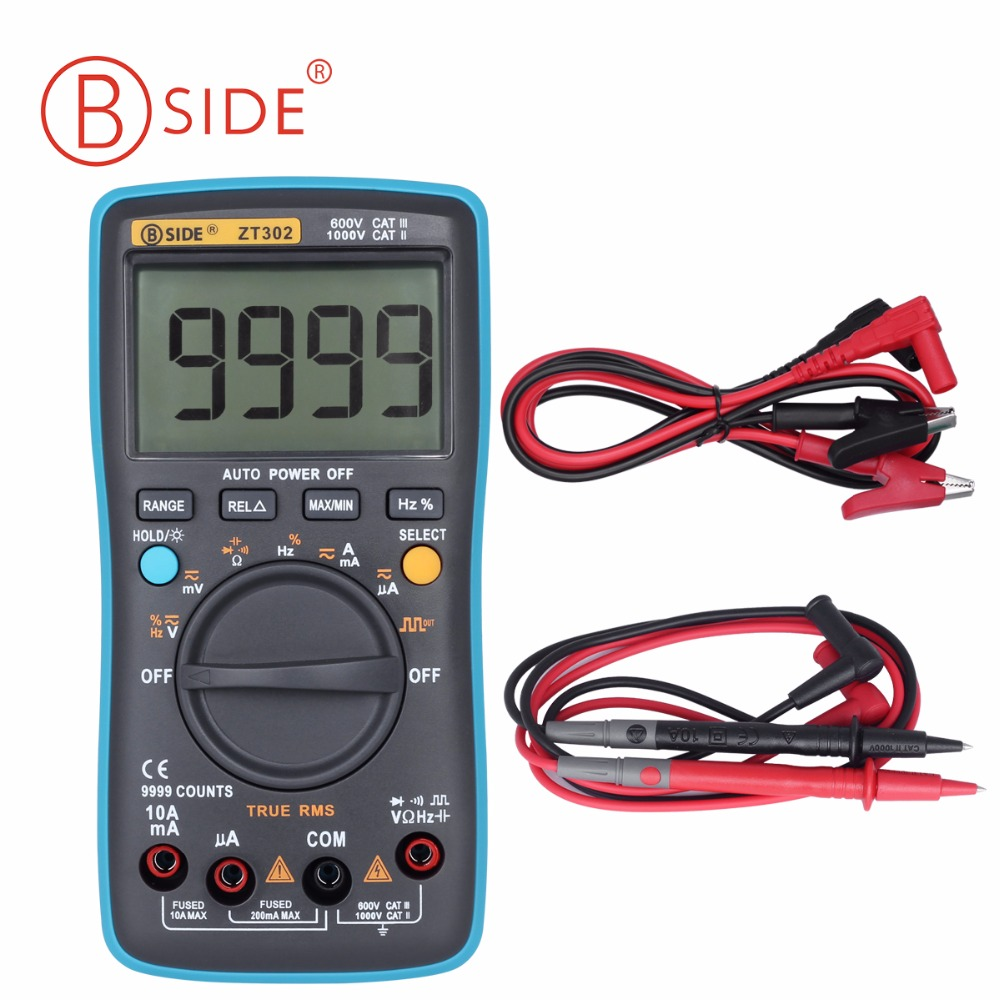 BSIDE ZT301/ZT302 Ture RMS Digital Multimeter 9999 Counts Multifunction AC/DC Voltage Temperature  Capacitance Testers DMM RM109 my68 handheld auto range digital multimeter dmm w capacitance frequency
