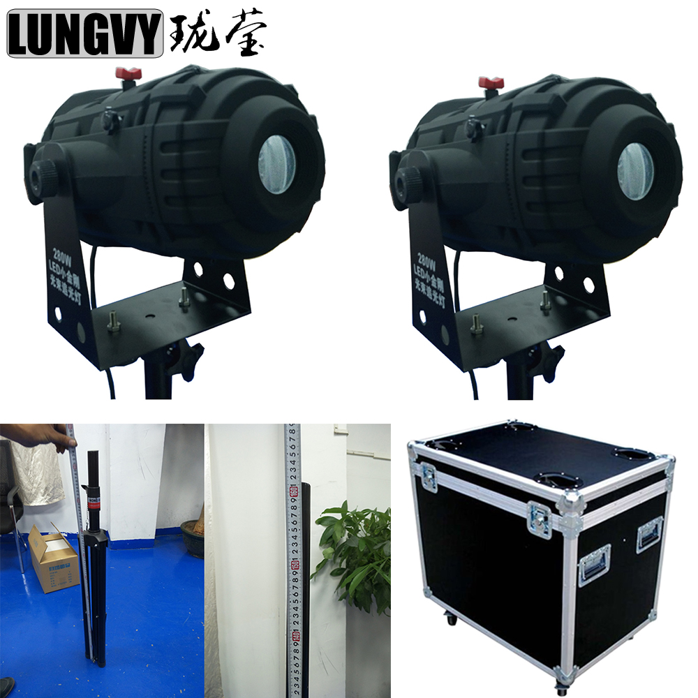 Free Shipping 2pcs/lot Flight Case Packing 2017 100W Led Spot Light Following Color Gobo Stage Lighting With Thick Stick