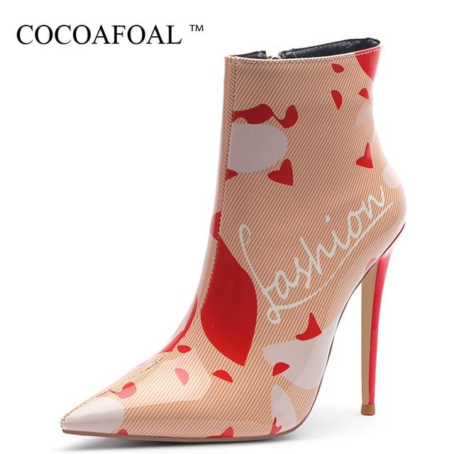 COCOAFOAL Sonbahar Kış kadın Yüksek Topuklu yarım çizmeler Kadın Chelsea Çizmeler Artı Boyutu Moda Seksi Martin Çizmeler Stiletto 2019