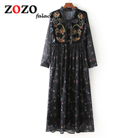 Falacs Zozo Spring Autumn Vintage Bohemian Gothic Straight High Street Print Embroidery Bow Knee Length Chiffon