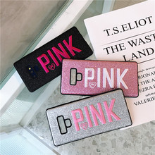 Hot Luxury PINK Brand  Glitter Embroidery Leather Fashion Cute Pink Case for Samsung Galaxy S8 S9 Plus note 9 Phone cases