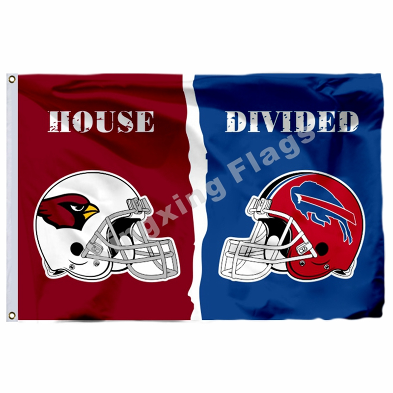 Arizona Cardinals Buffalo Bills Helmets House Divided Flag 3ft X 5ft Polyester NFL Banner Size No.4 144*96cm Custom Flag