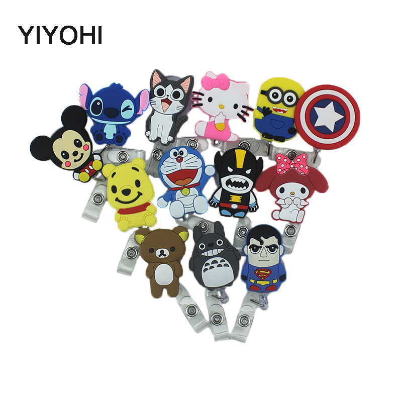 YIYOHI 60cm Cartoon Totoro Kitty Stitch Silicone Retractable Reel för Bus Bank Kreditkort Holder ID Holders