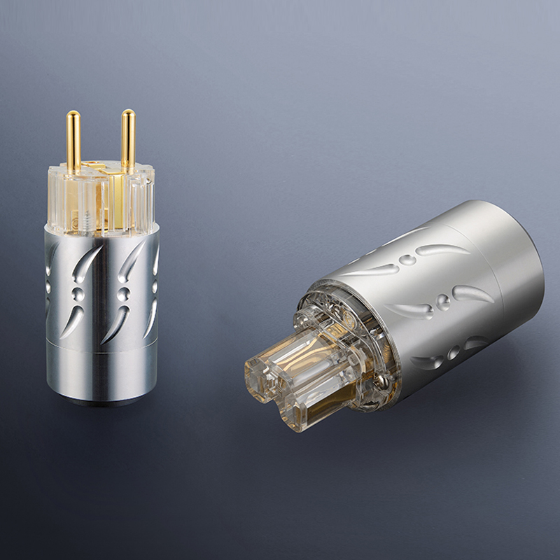 Free shipping One pair Viborg VE512G&VF512G Pure Copper 24K Gold Plated HIFI EU Power Plug+IEC Female Connector купить