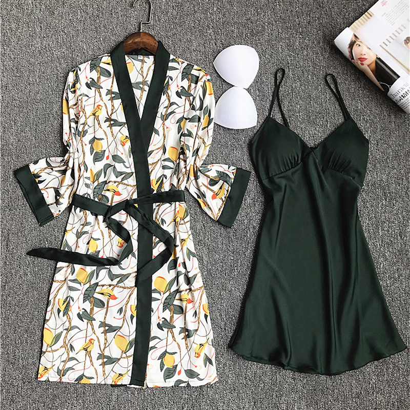 Daeyard Pajamas Set Night Gown Robe Set Women Nighty Silk Dressing gown For Ladies Nightgown Nightwear Femme Sexy Lingerie Robe-in Robe & Gown Sets from Underwear & Sleepwears