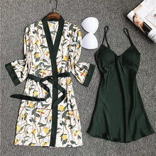 Daeyard Pajamas Set Night Gown Robe Women Nighty Silk Dressing-gown For Ladies Nightgown Nightwear Femme Sexy Lingerie