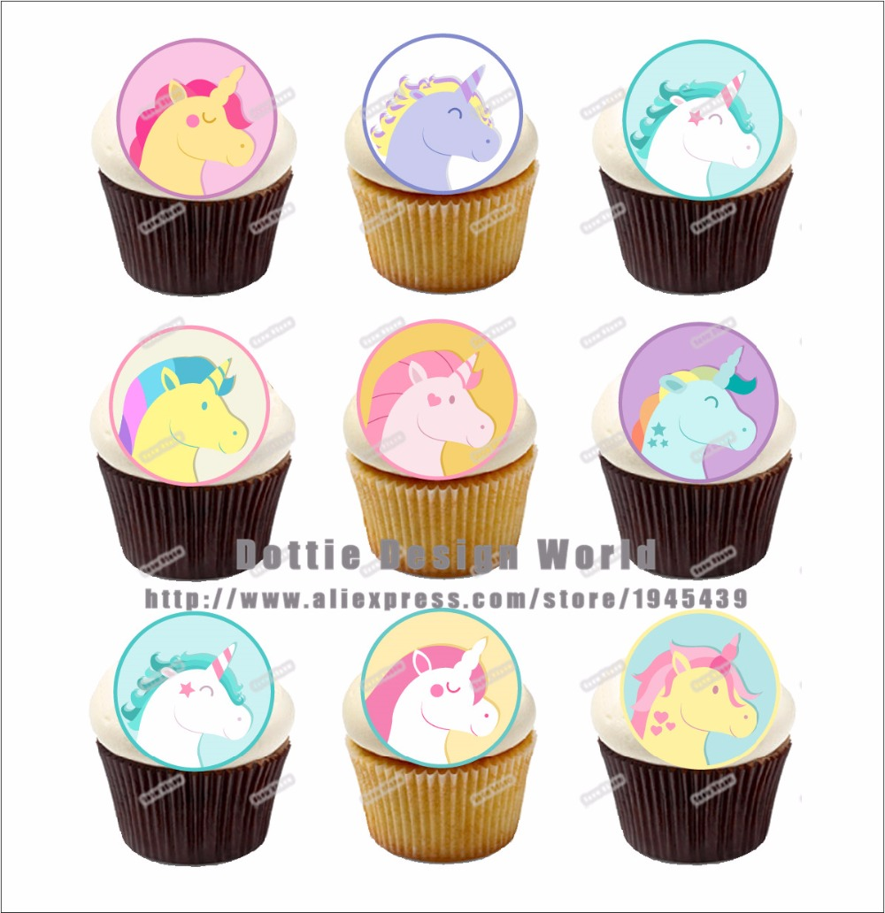 24 Unicorn Edible cake topper wafer rice paper for Cook, Cookie ...