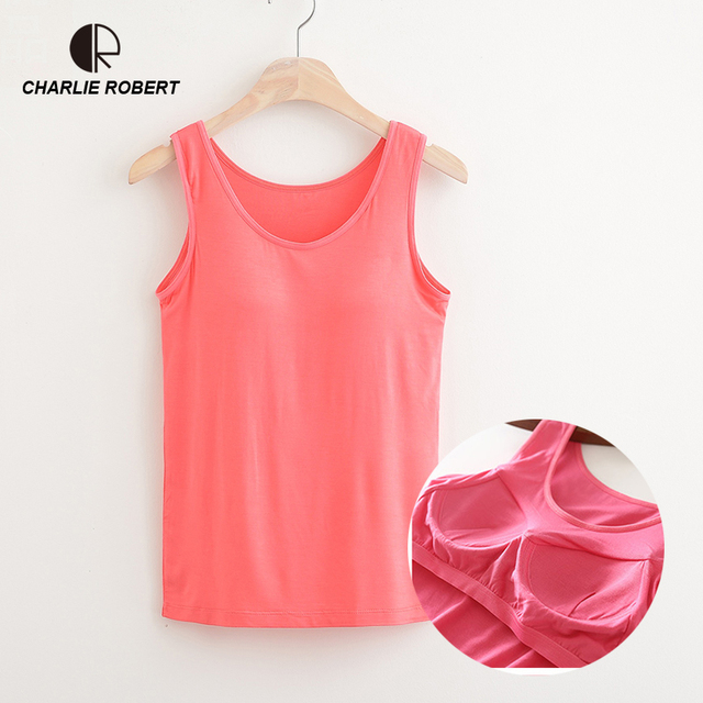 d138ab4f3c CR NEW 2018 Summer Women Modal Tank Tops Built In Bra Padded Bra Casual Tops  Soft Plus Size Drop Shipping
