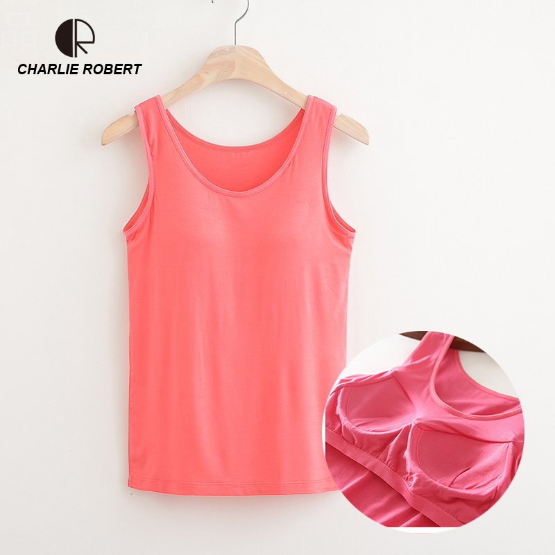 CR NEW 2018 Summer Women Modal Tank Tops Built In Bra Padded Bra Casual Tops Soft Plus Size Drop Shipping
