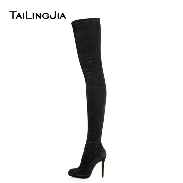 dc61cd13c8e 2017 Women Black Stretch Suede Over the Knee Thigh High Boots Ladies Round  Toe Platform High Heel Spring Autumn Shoes