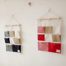 8 Pockets Hanging Storage Bags Cotton Linen Wall Door Pouch Bedroom Home Pocket Decor Bag
