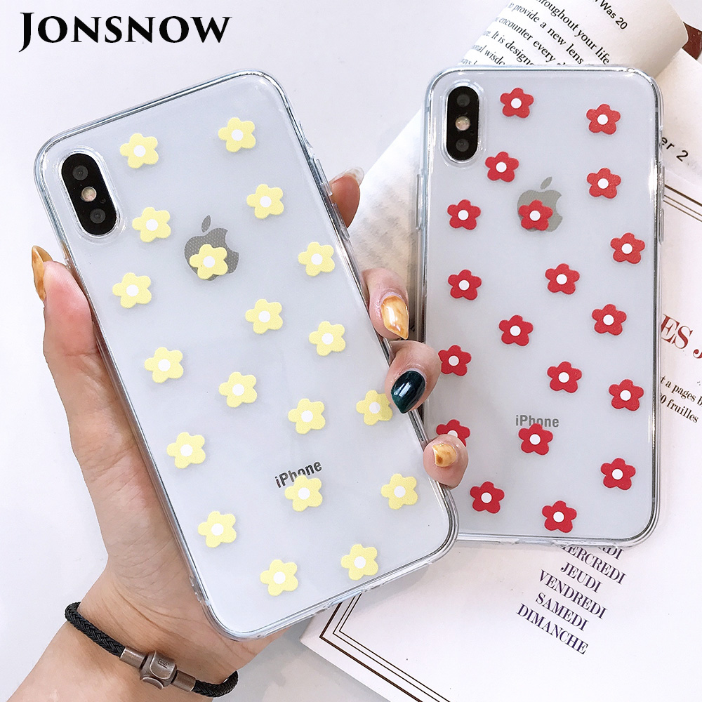 KIPX1117_1_JONSNOW Transparent Flowers Pattern Phone Case for iPhone X XR XS Max 8 Plus 7 6P 6S Cases Soft Silicone Cover Capa Coque Fundas