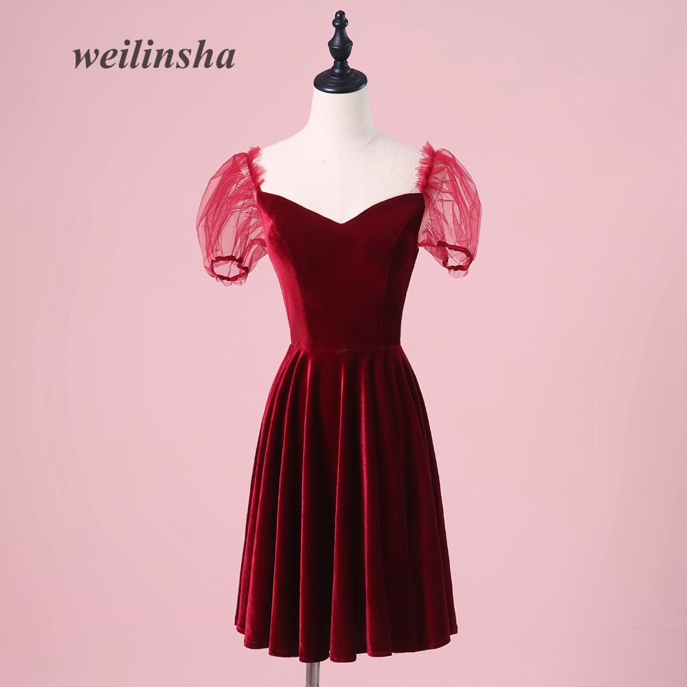 Weddings & Events Have An Inquiring Mind Weilinsha Short Cheap Velour Burgundy Evening Dresses 2018 Simple Vintage Little Lantern Sleeve Party Prom