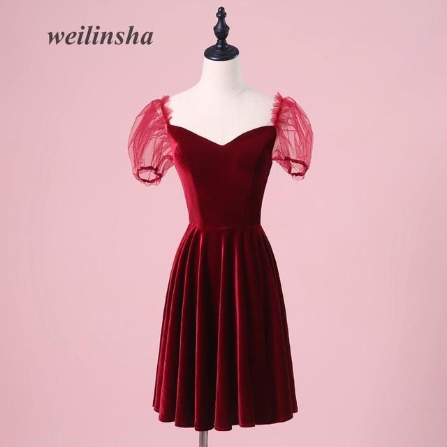 Weilinsha Short Velour Burgundy Evening Dresses 2018 Simple Vintage Little Lantern Sleeve Party Prom