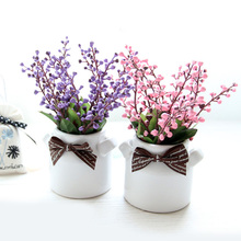Potted Ceramic Milk Bottle Crafts Holiday Gifts Artificial Simulation Flower Set Decoration Home Decoration bonsai