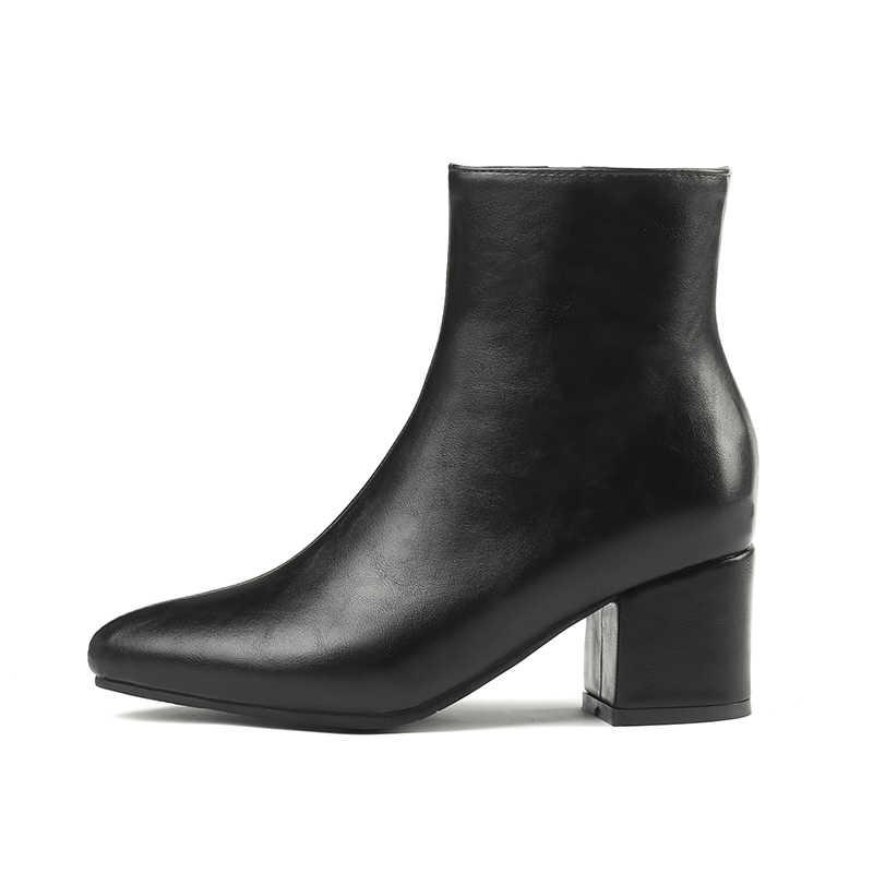 WETKISS Kış Kalın Yüksek Topuklu Kadın Çizmeler Sivri Burun Zip Ayakkabı Kadın Çizme Ayna PU ayakkabıları Kadın 2018 Yeni Artı Boyutu 32-45