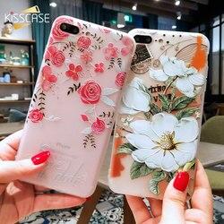 KISSCASE 3D fleur de Relief étui pour iPhone 8 7 iPhone 6 étui Sexy silicone couverture pour iPhone 7 6 s iPhone 5 S X XR XS Max étui Fundas