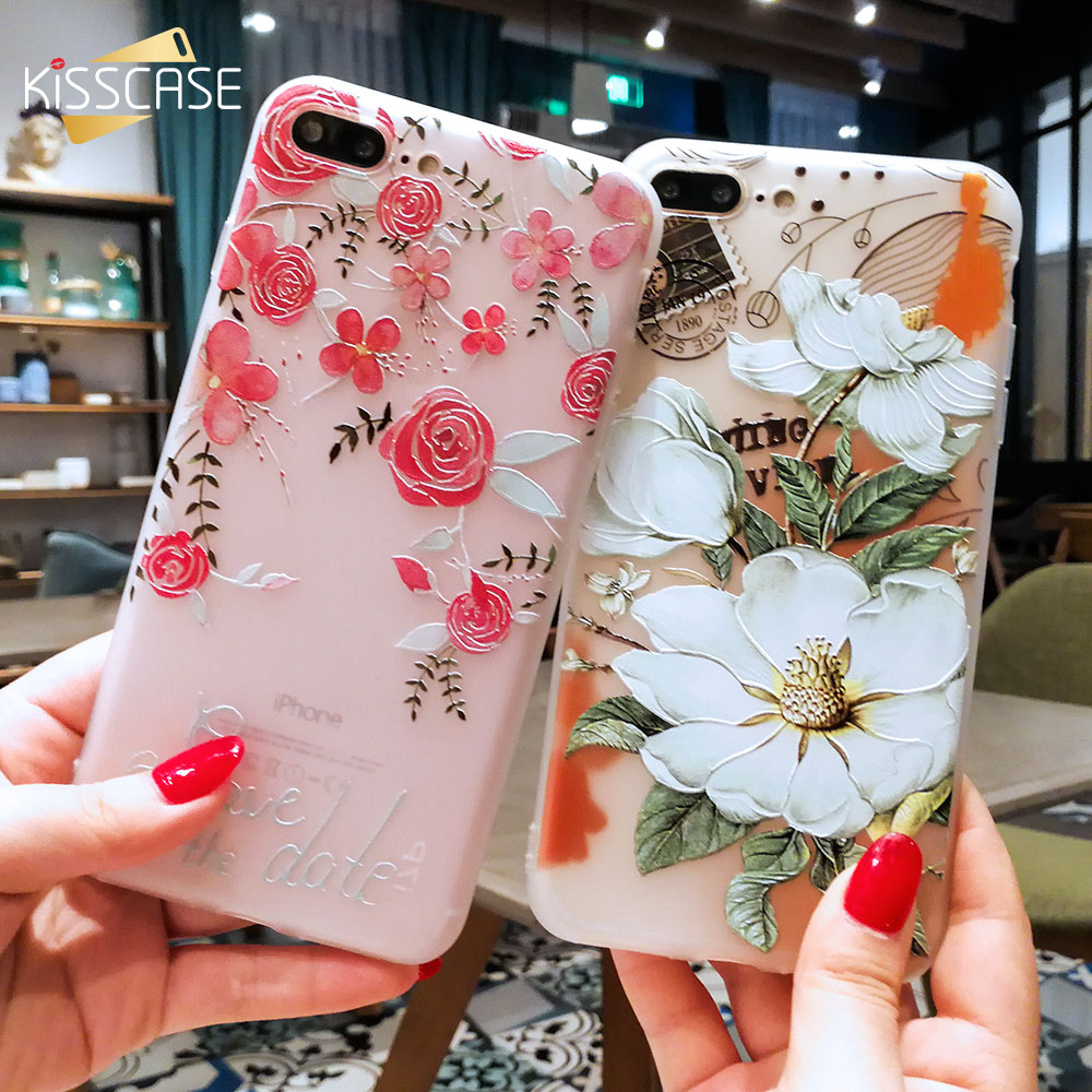 KISSCASE 3D Relief Flower Case För iPhone 8 7 iPhone 6 Fodral Sexig Silikon Skal till iPhone 7 6s iPhone 5S X XR XS Max Case Fundas