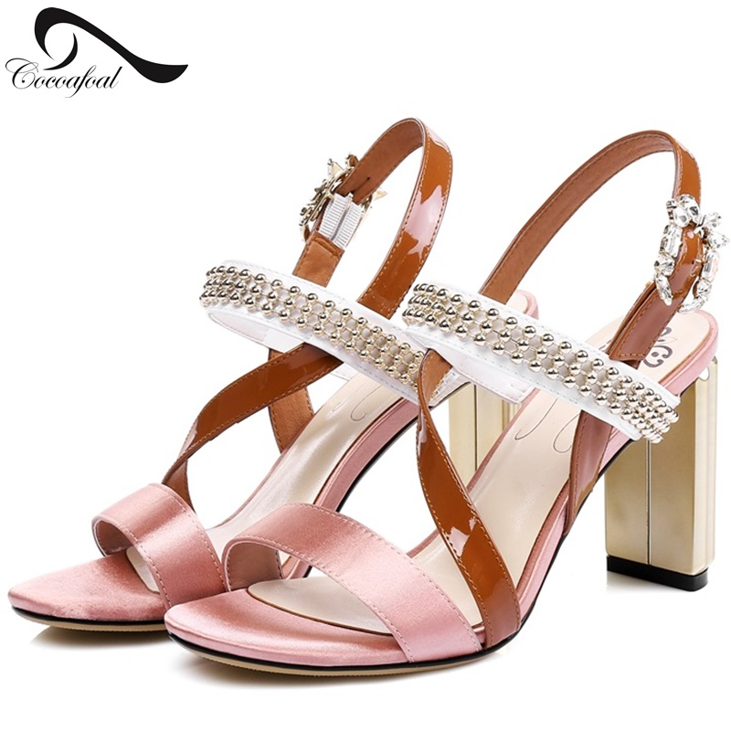 ФОТО High-heeled Sandals Fashion Open-toed Women's Shoes Diamond Banquet Wedding Shoes Leather Roman Shoes Comfortable Pumps women
