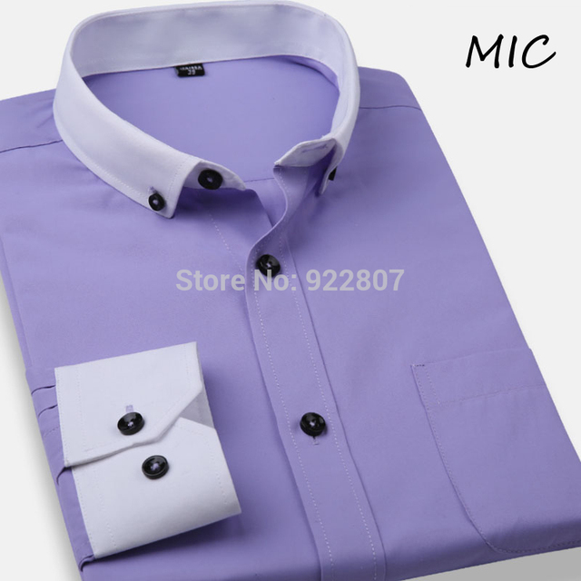 2015 new men's shirts High quality brand dress shirt men button-down collar Business Formal shirt for man 10 colors big size