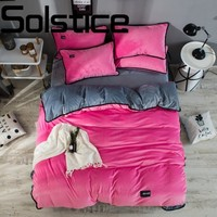 Solstice Home Textile High end luxury soft and comfortable crystal velvet fabric bedding linens Quilt cover pillowcase