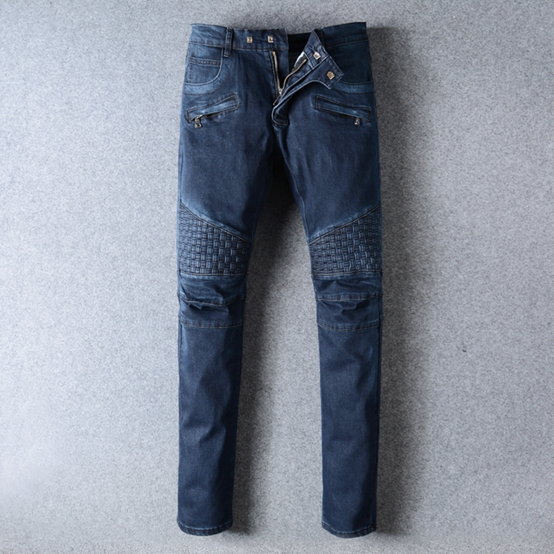 New Famous Brand Mens Distressed Hip Hop Jeans Luxury Destroyed Slim Denim Biker Jeans Pants Men