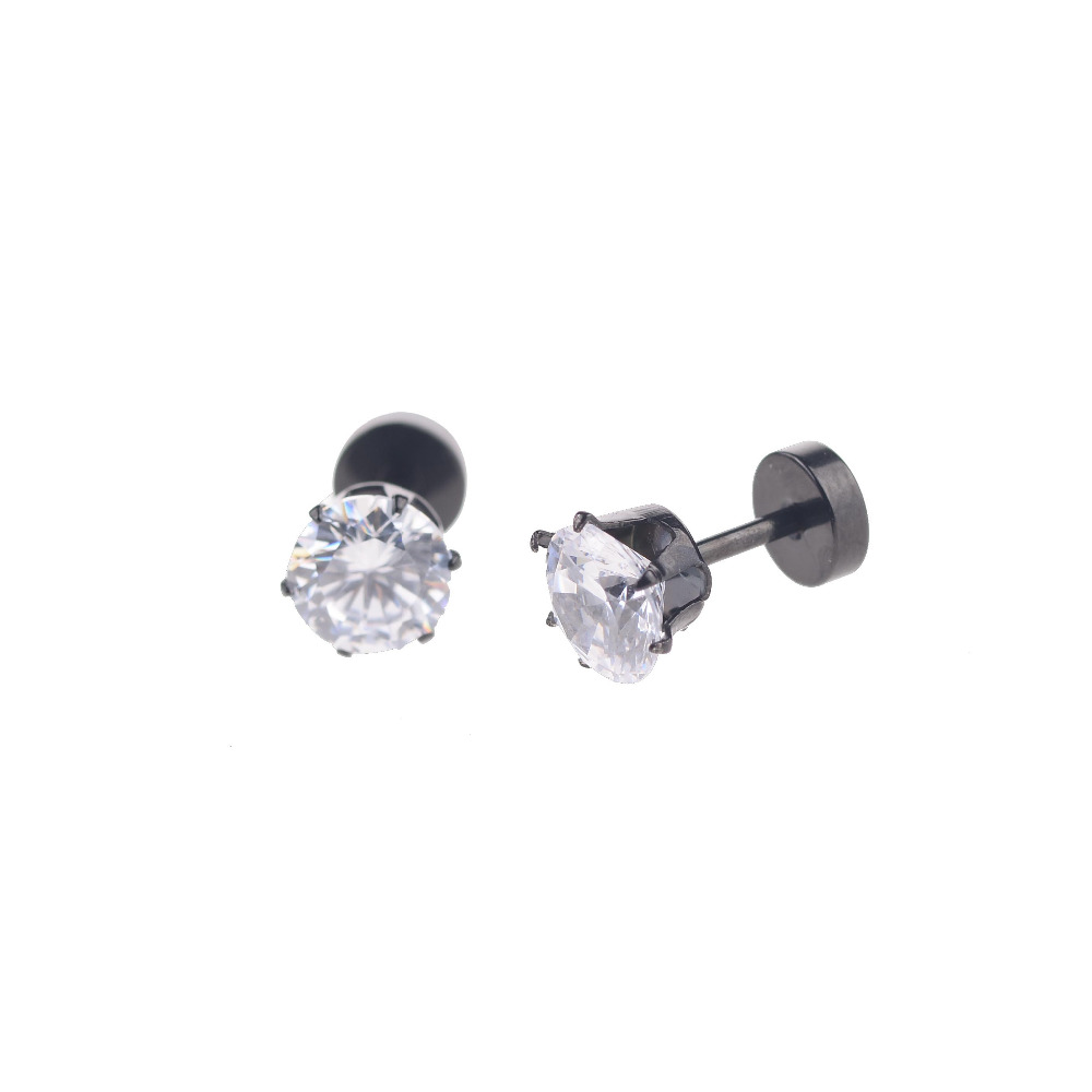 s hematite stud earrings in silver crystal black