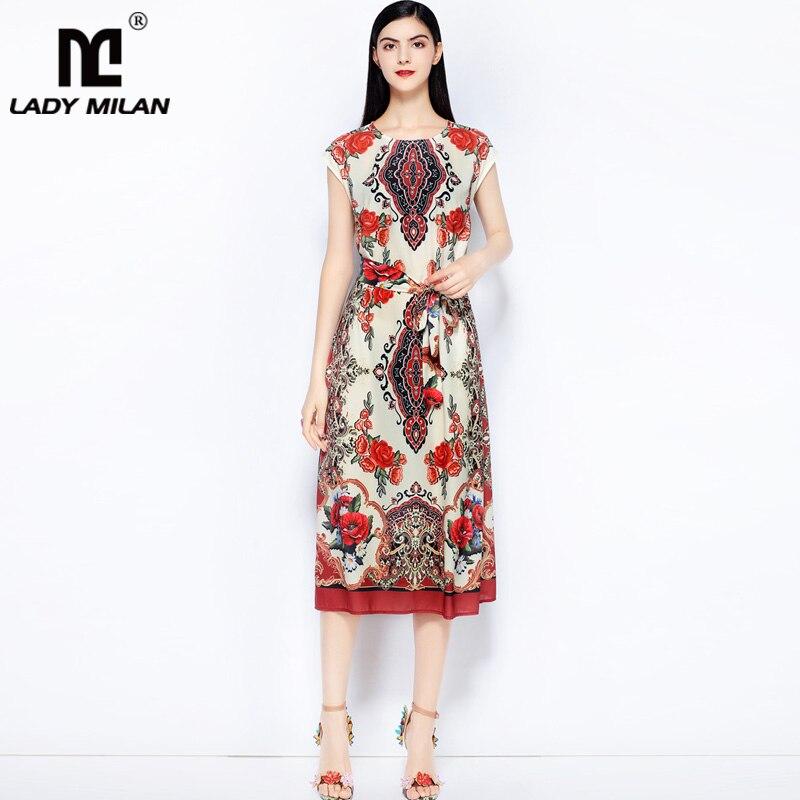 Lady Milan Womens O Neck Sleeveless Printed Loose Design Sash Belt High Street Fashion Mid Calf Dresses