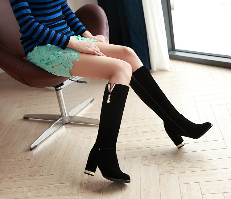 New Beaded Womens Large Size 40 High-heeled Suede Black Knee High Boots Autumn And Winter 7cm4