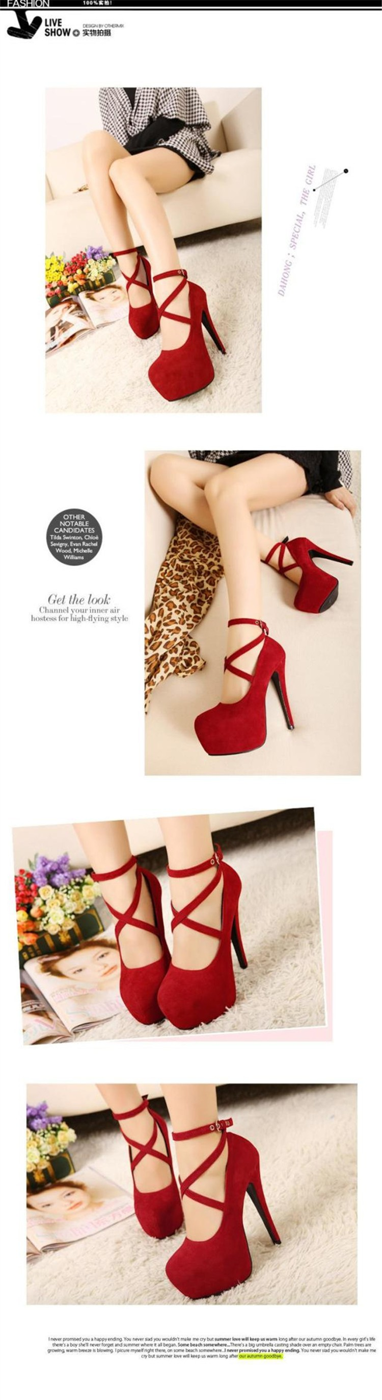 High Heels Stilettos Ankle Strap Sexy Ladies Party Shoes