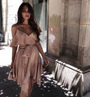 Для женщин замша Асимметричная Обёрточная бумага шелк мини платье пикантные v образный вырез с рукавом бабочкой шелк мини платье