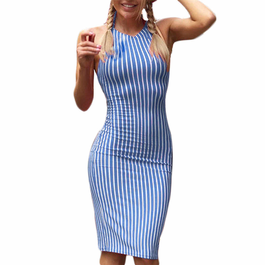 SAGACE hot sale Dress Women's Summer Backless Bandage Striped Nightclub Style Holiday Dress Spaghetti Strap Striped Party Dress