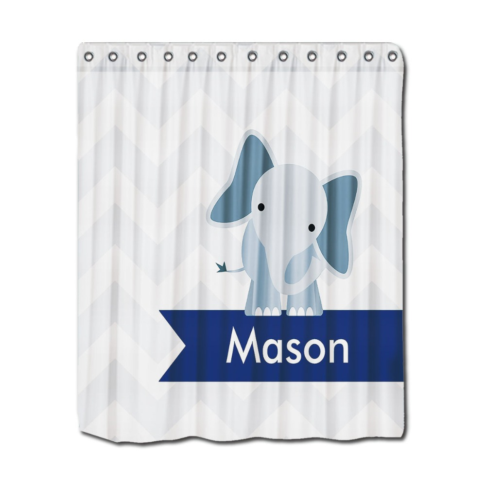 Personalized Name Print Shower Curtains Blue Elephant Printing Perfect For Kids Bathroom Curtain