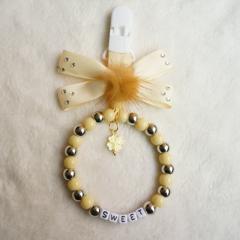 Personalised pram charm in Golden Lather bow with Crystal Crown