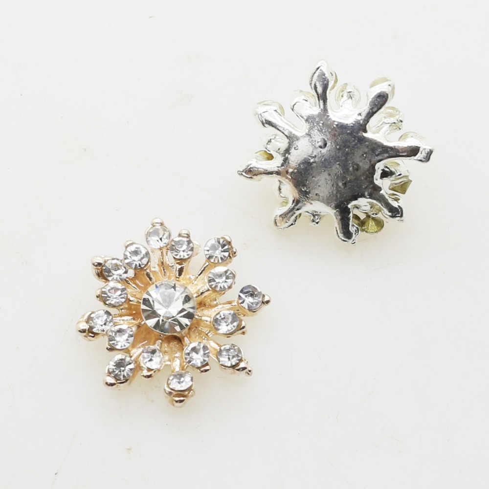 ZMASEY Novo 10 pçs/lote 16 MM Metal Botão Botões Flatback Chapeamento Do Floco De Neve para a Menina Hairpin Acessórios Artesanato Decoração Da Fita