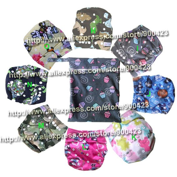6pcs cloth diapers + 6pcs inserts +1pcs wetbags diapers