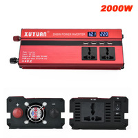 2000W Car Power Inverter With LED Display DC 12V / 24V To AC 220V Car Charger Converter Modified Sine Wave Power Adapter