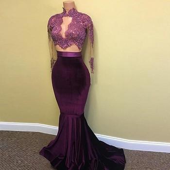2019 г. пикантные 2 из двух частей платье для выпускного вечера бархатное бордовое темно-красные платья для выпускного платье-Русалка с длинны...