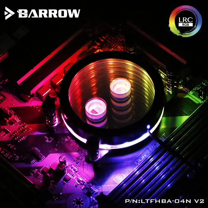 Barrow LTFHBA-04N-V2, For RyzenAMD/AM4/AM3 CPU Water Block Mirror Extreme, LRC RGB V2 Acrylic Microcutting Microwaterway