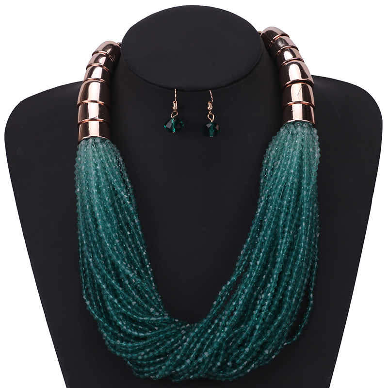 7 Colors Bohemian Multilayer African Beads Choker Necklace Earrings Set Statement Fashion Party Jewelry Sets For Women Wholesale bohemian beads necklace and earrings