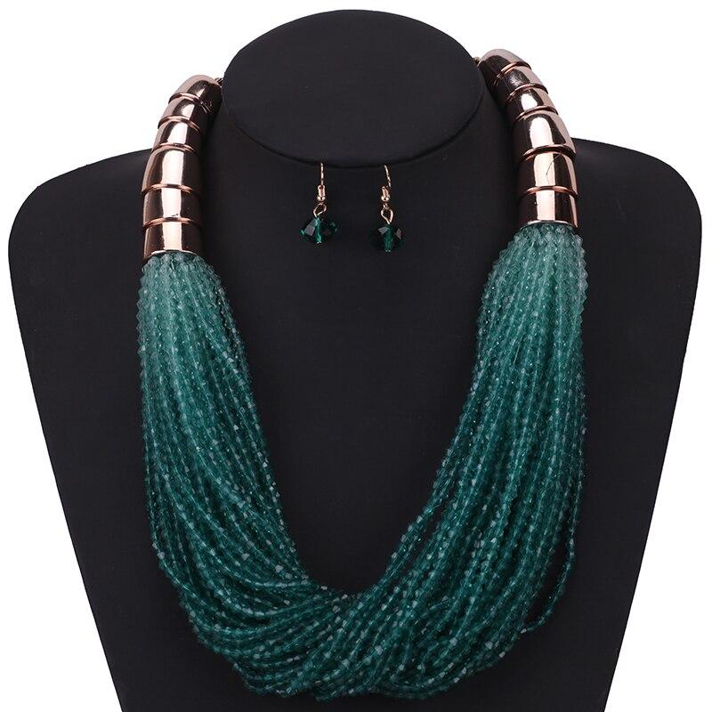 Bohemio multicapa gargantilla perlas collar pendientes de declaración de moda joyería Africana establece para las mujeres Collier Africain