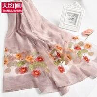 2017 sommer Weiblichen Ethnischen Stil Blume Cluster Stickerei Baumwolle Schal Women Casual Sonnenschutz Strand Schal und Wraps aushöhlen